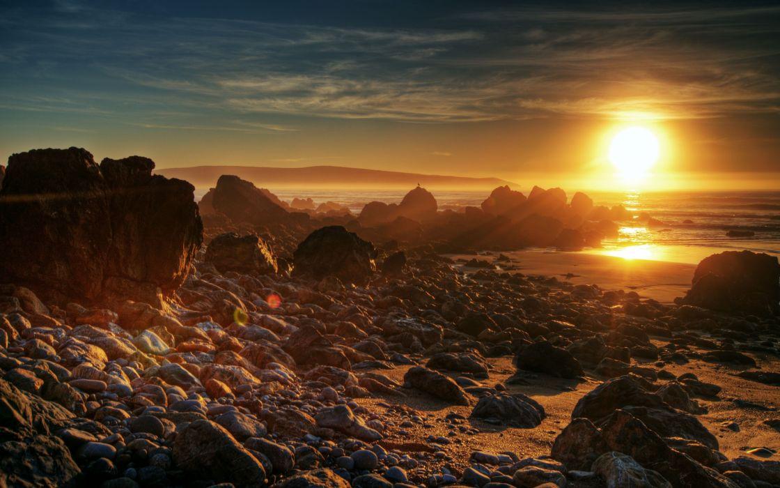 Sunset landscapes nature beach rocks wallpaper