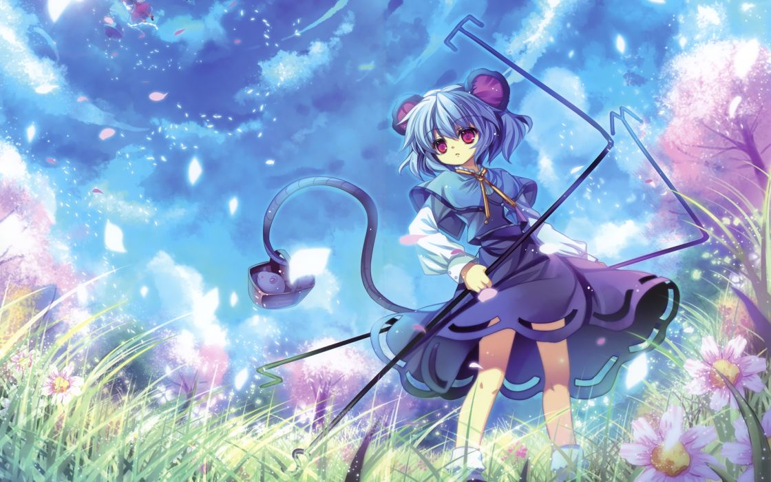 Women video games touhou cherry blossoms blue hair animal ears hakurei reimu anime pink eyes flower petals mice skyscapes nazrin anime girls capura lin wallpaper