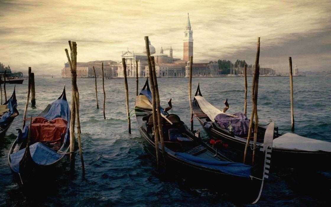 Seas venice italy gondolas wallpaper