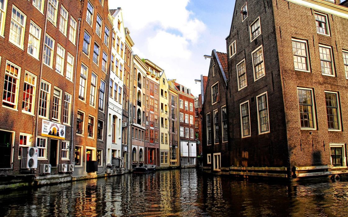 Water cityscapes amsterdam canal wallpaper