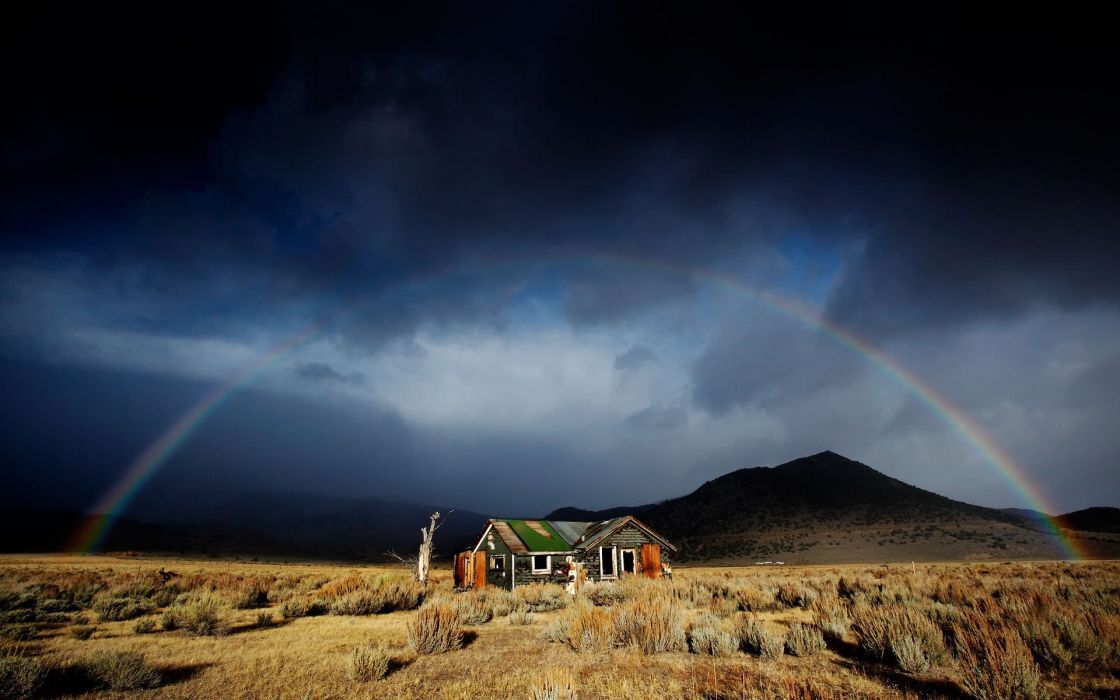 Landscapes nature houses rainbows wallpaper