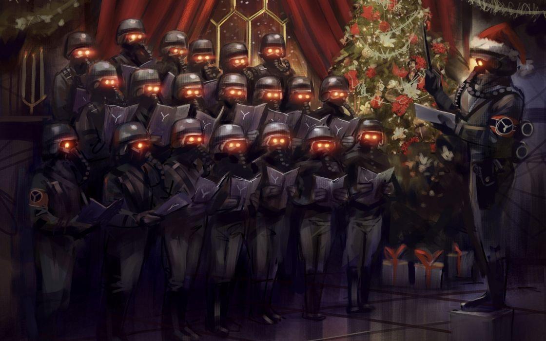 Soldiers video games humor christmas artwork killzone 3 wallpaper