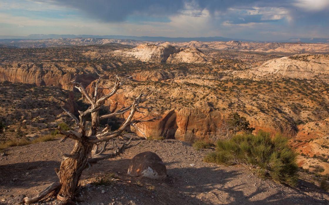 Clouds landscapes rock desert wallpaper