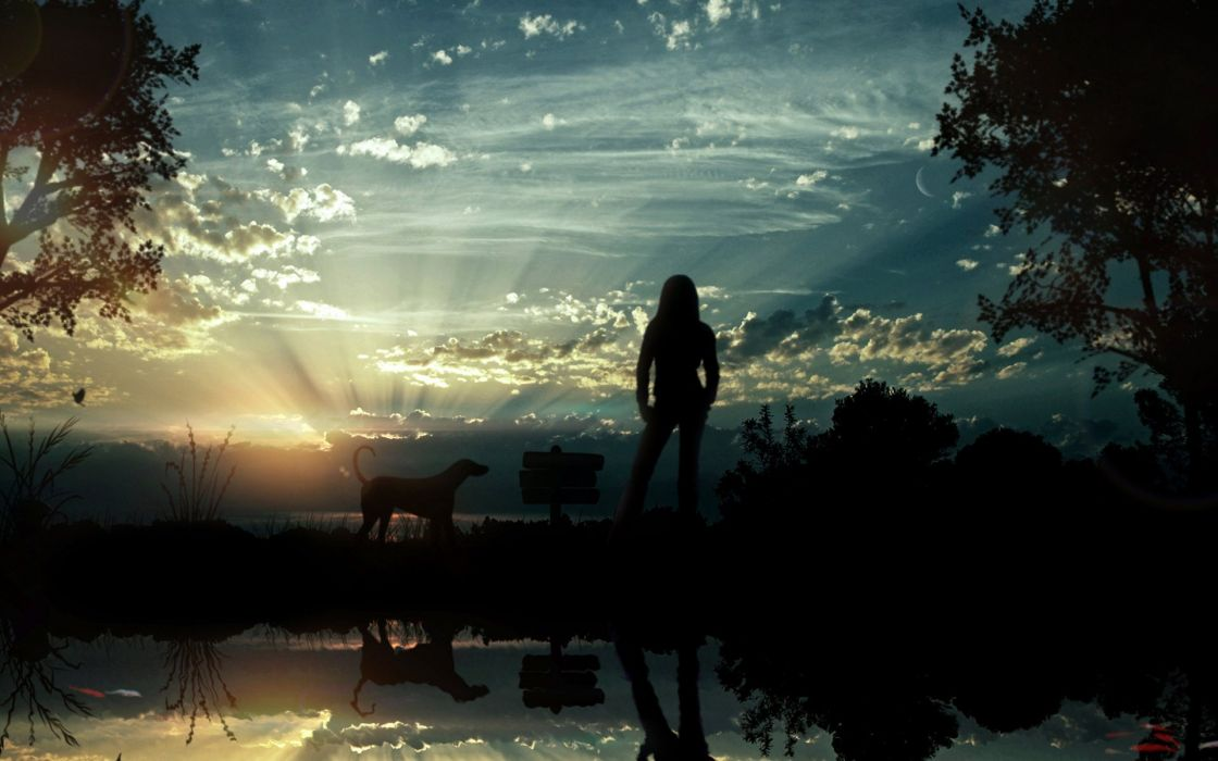 Women nature animals sunlight skyscapes wallpaper