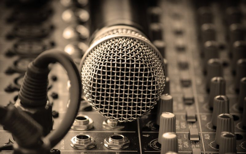 Music mixing tables microphones wallpaper