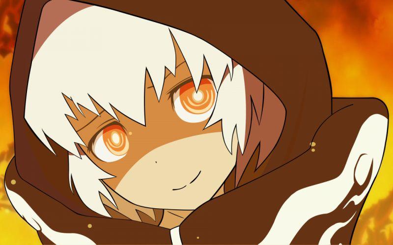 Black rock shooter hoodie white hair orange eyes strength vector art wallpaper