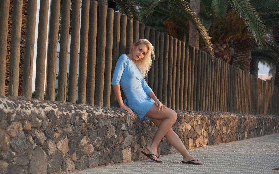 Blondes legs women blue dress wallpaper