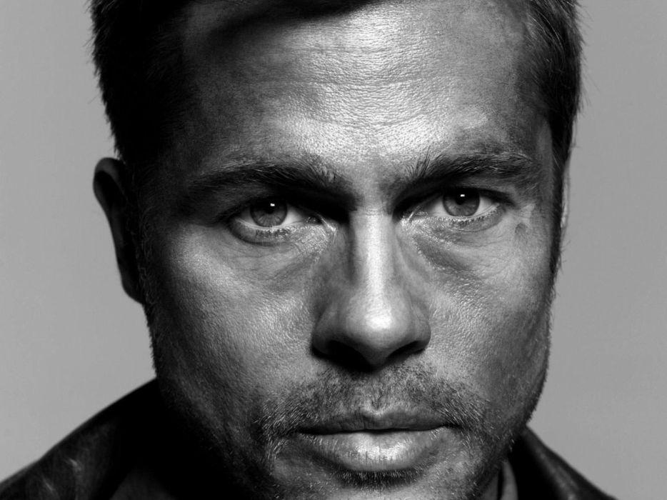 Eyes men brad pitt celebrity monochrome actors faces wallpaper