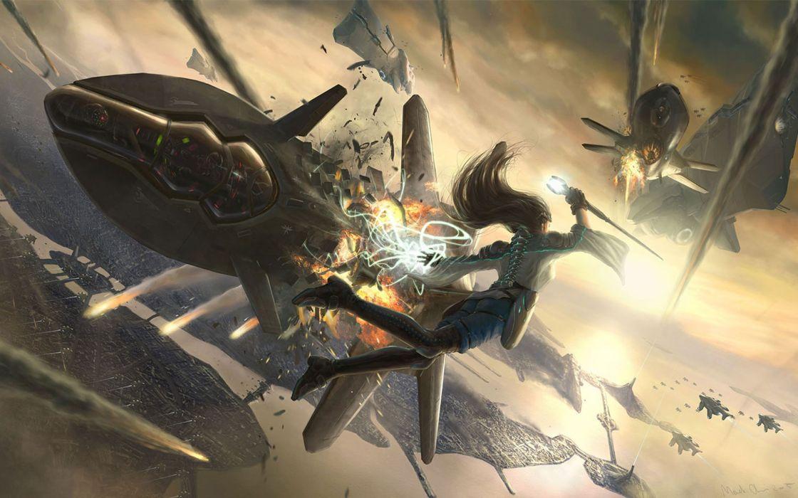Women aircraft futuristic flying explosions concept art marek okon falling wallpaper