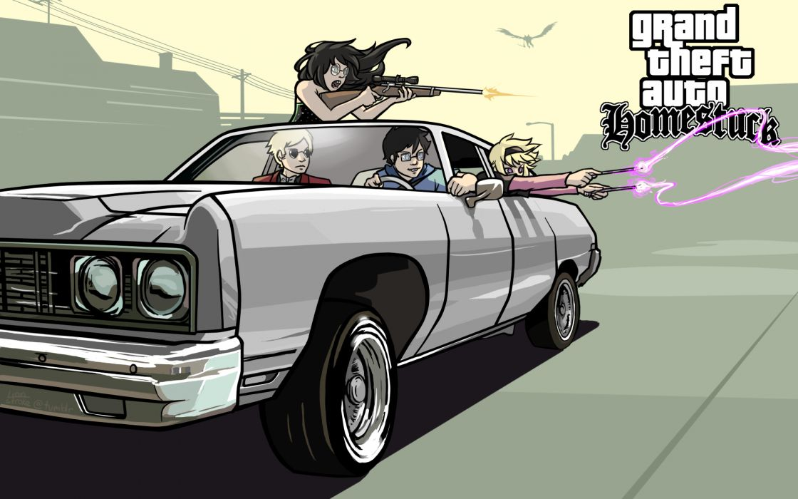 Cars weapons grand theft auto sniper rifles homestuck gta san andreas john egbert crossovers dave strider jade harley rose lalonde jack noir wallpaper