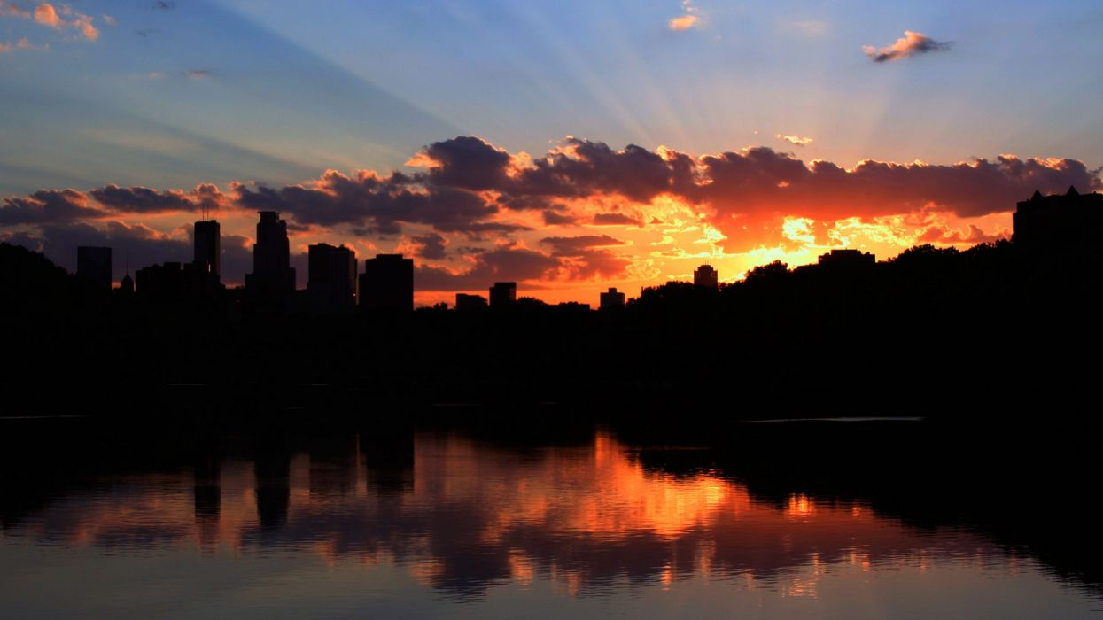 Cityscapes silhouette buildings reflections wallpaper