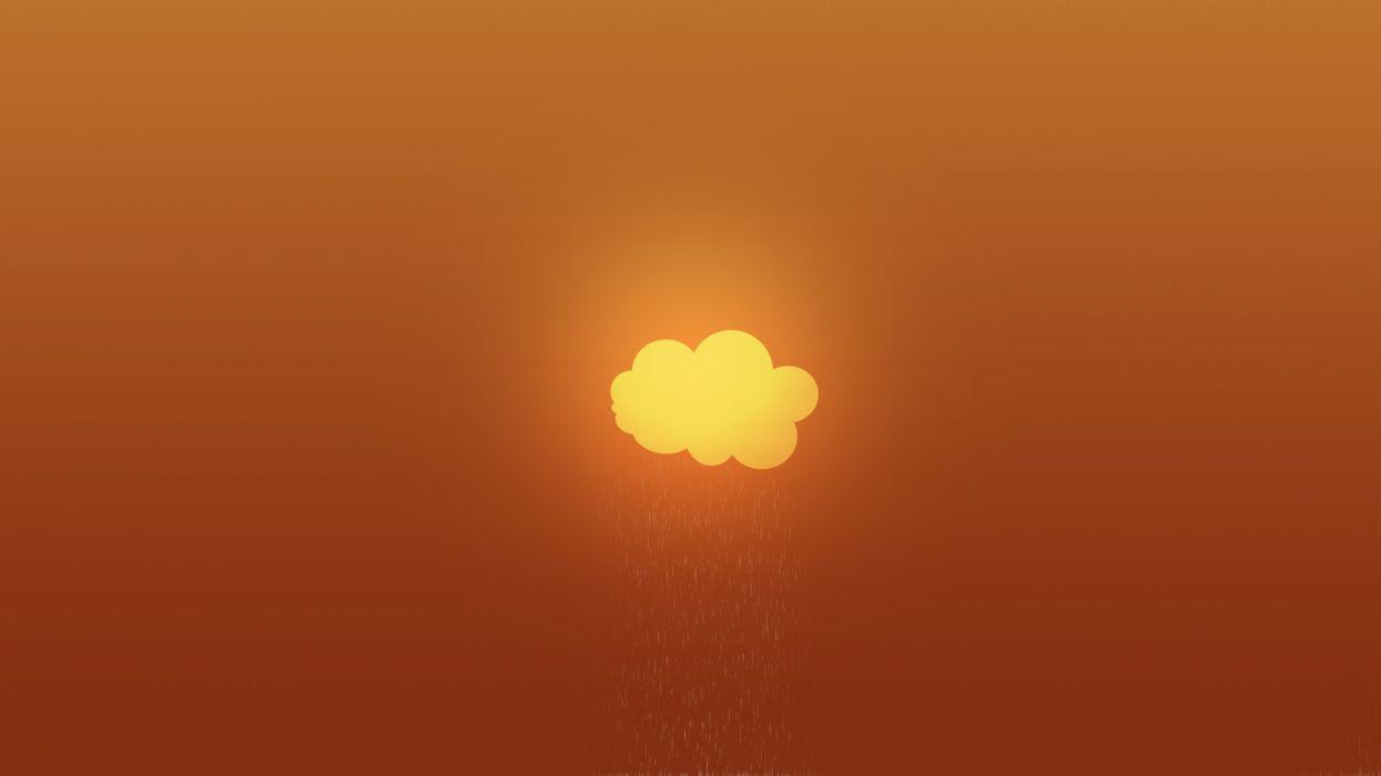 Clouds minimalistic orange gradient wallpaper