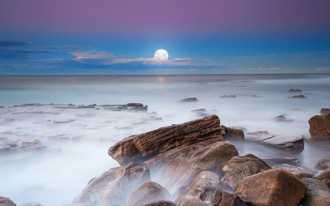 Clouds landscapes moon rocks scenic wallpaper