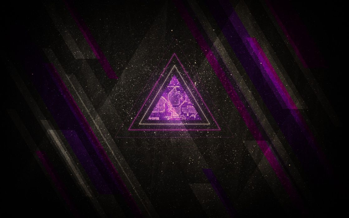 Minimalistic computers purple sparkles lines triangle stripes wallpaper