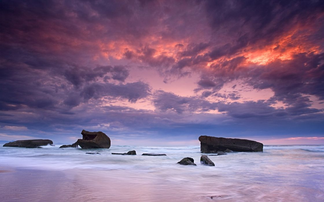 Water clouds landscapes beach wallpaper
