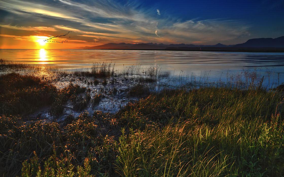 Sunset ocean landscapes nature grass deviantart skyscapes wallpaper