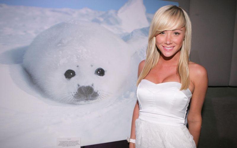 Women seals sara jean underwood white dress wallpaper
