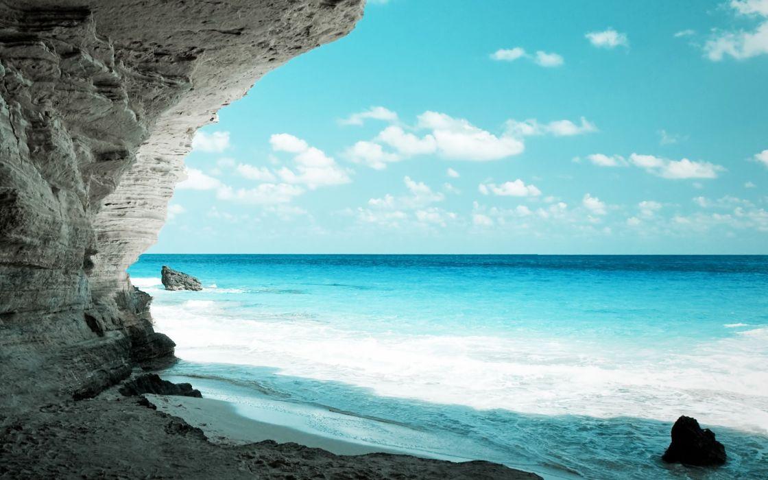 Cave seas rocks skyscapes wallpaper