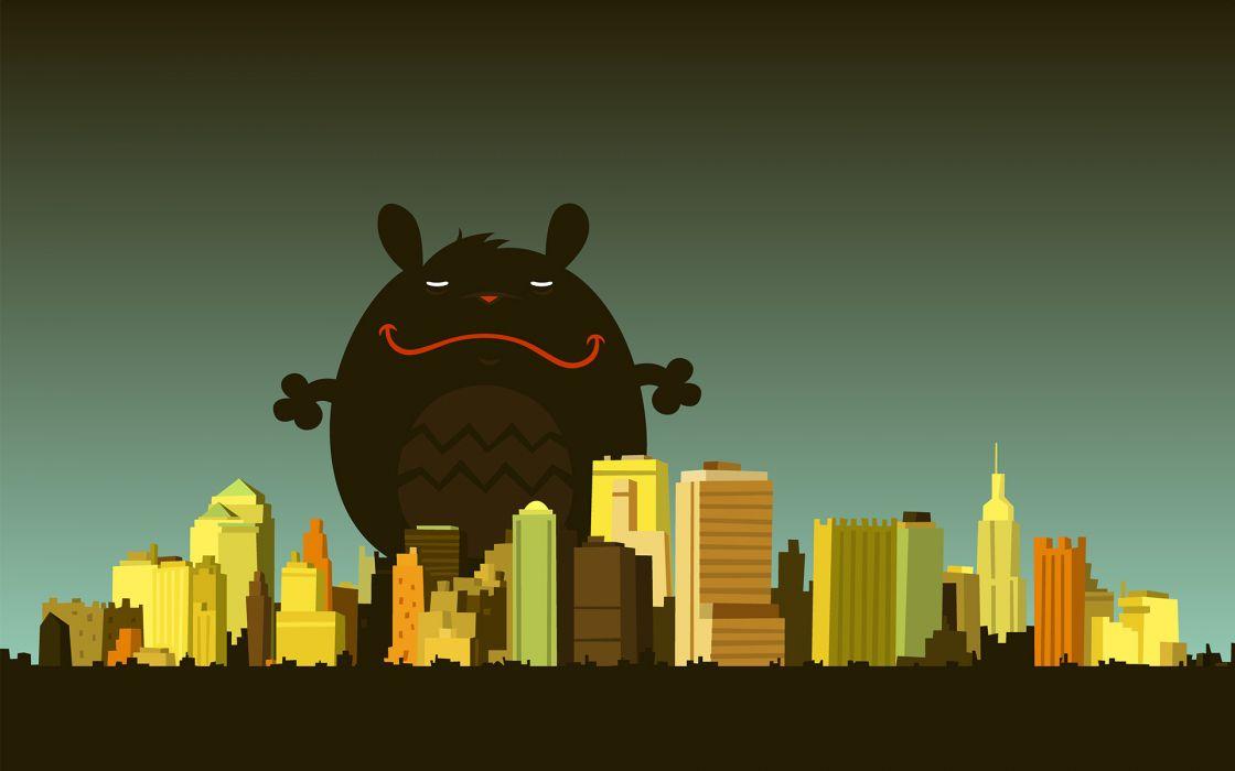 Cartoons cityscapes buildings cartoonish wallpaper