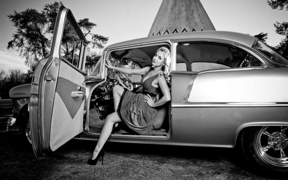 Blondes women cars models retro monochrome wallpaper