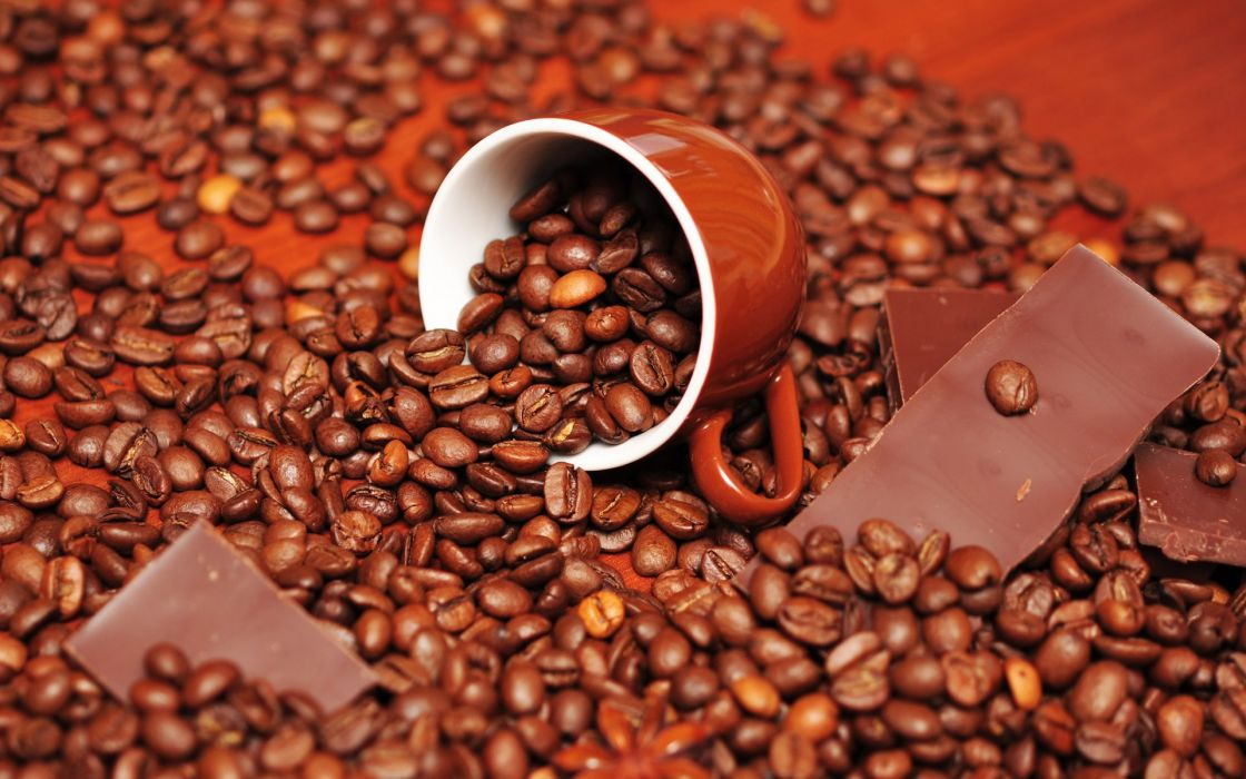 Chocolate food cups coffee beans wallpaper