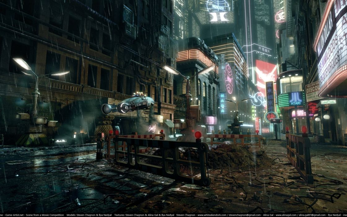 Streets blade runner digital art wallpaper
