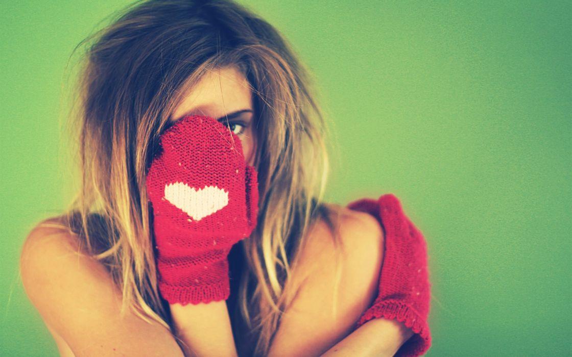 Blondes women gloves wool wallpaper