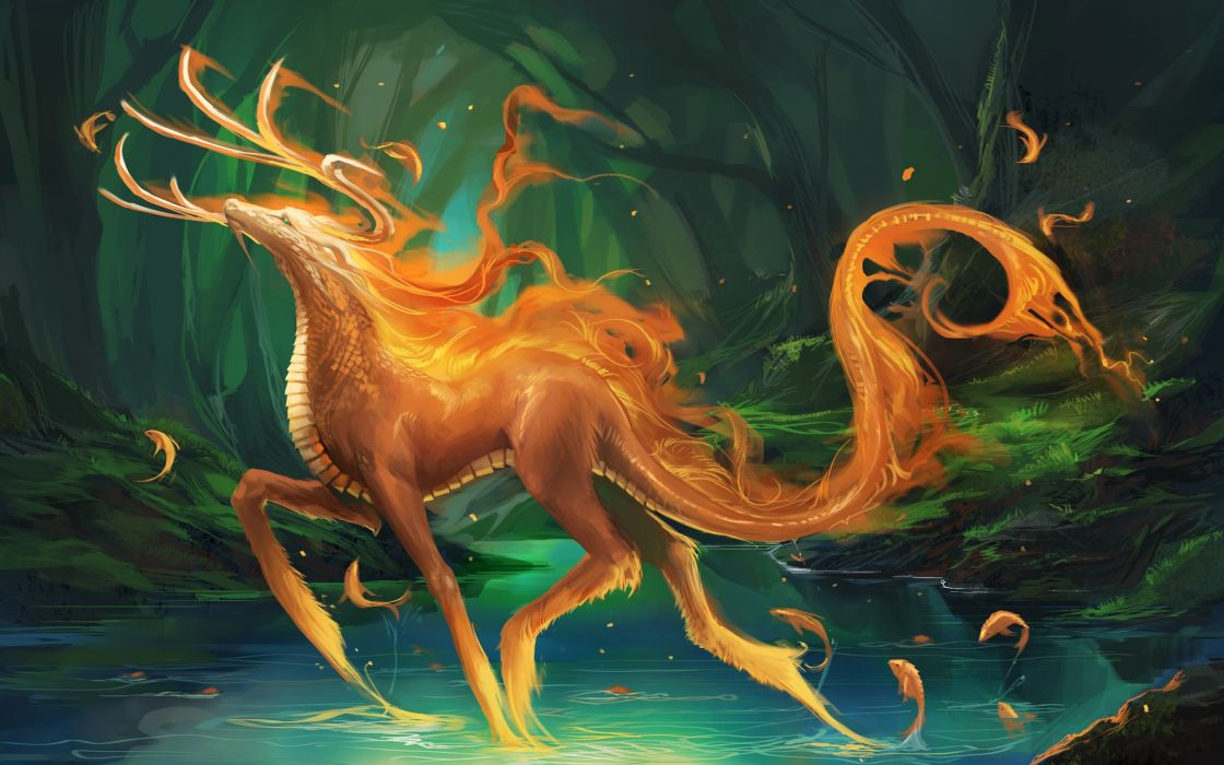 Monsters forest fantasy art creatures lakes wallpaper