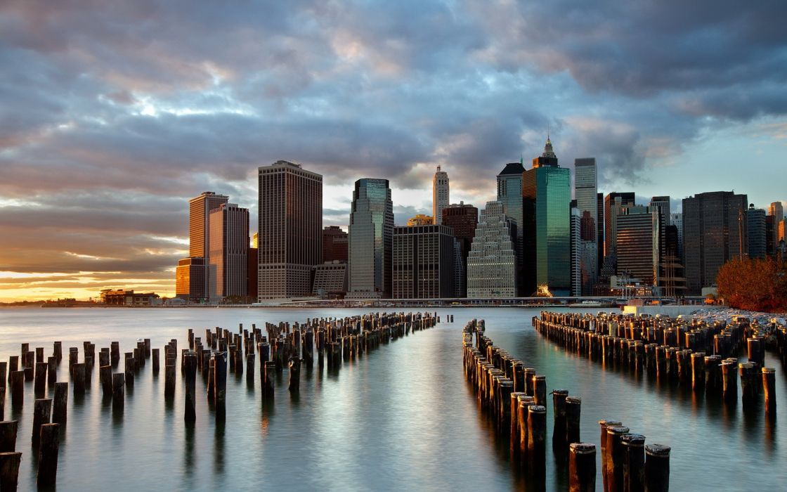Sunset cityscapes skylines new york city manhattan skyscrapers east river wallpaper