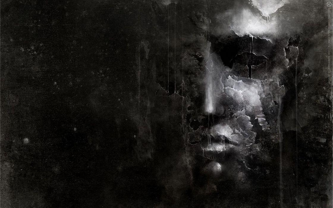 Abstract black dark faces wallpaper