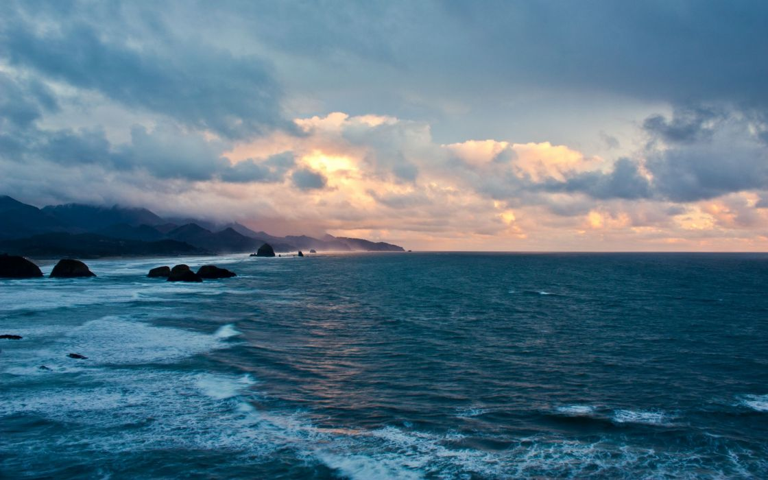 Water ocean clouds landscapes skyscapes wallpaper