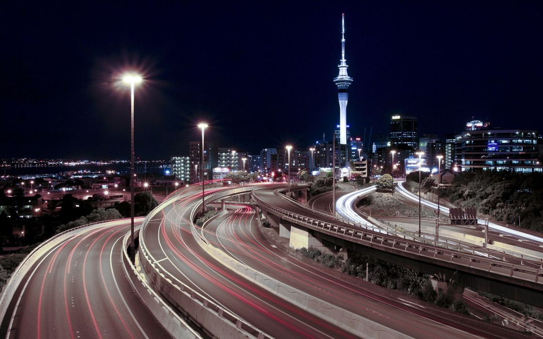 Night lights tower highway downtown roads auckland long exposure skyscapes wallpaper