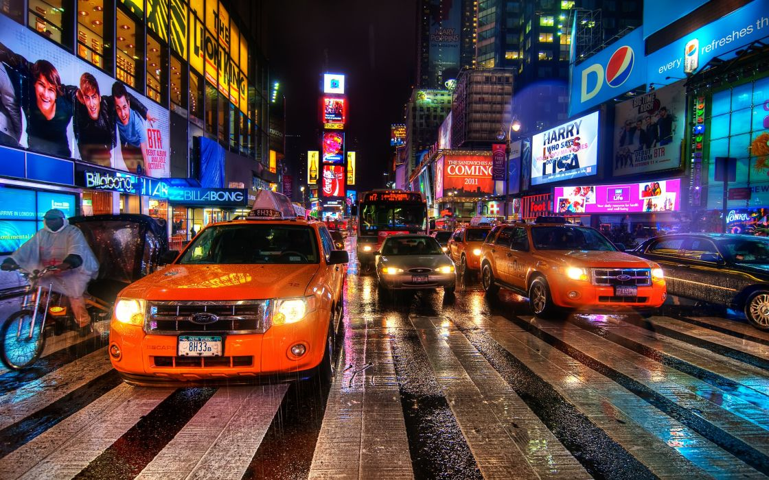 Cityscapes streets traffic new york city times square ny wallpaper