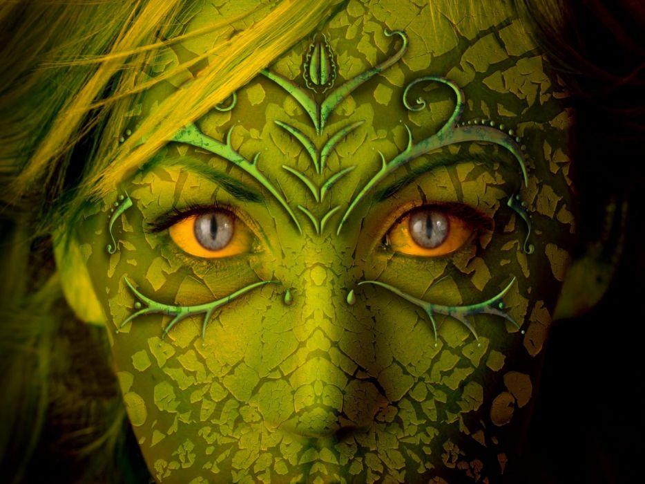 Green eyes fantasy art faces wallpaper