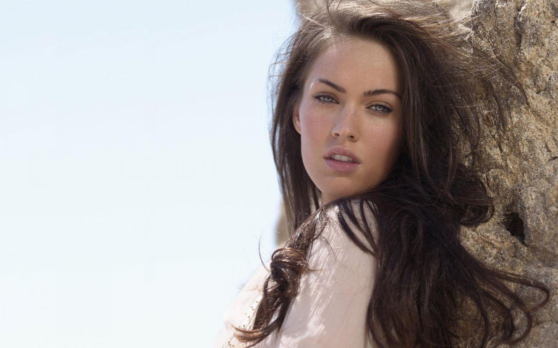 Up beach megan fox blue eyes actress long hair outdoors celebrity faces wallpaper