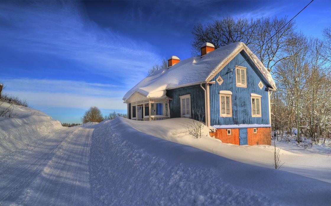 Winter (season) snow houses roads blue skies wallpaper