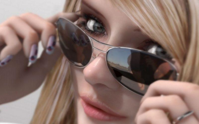 Blondes women eyes cgi sunglasses wallpaper