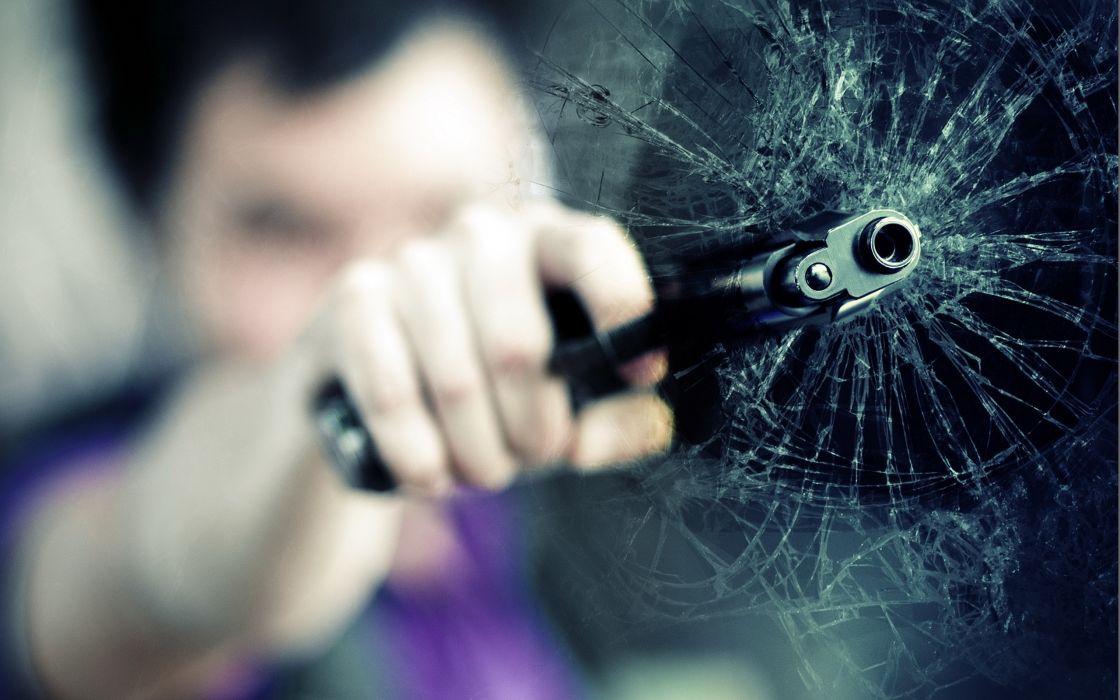 Guns glass broken glass out of focus wallpaper