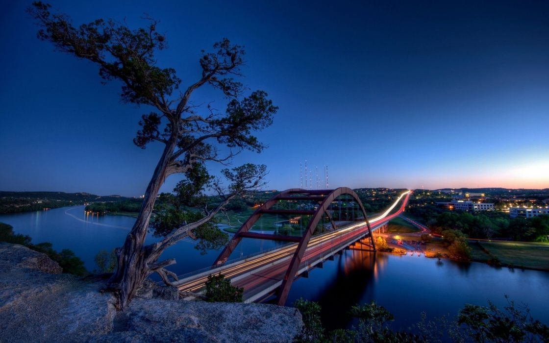Nature austin bridges usa texas rivers cloud geography wallpaper