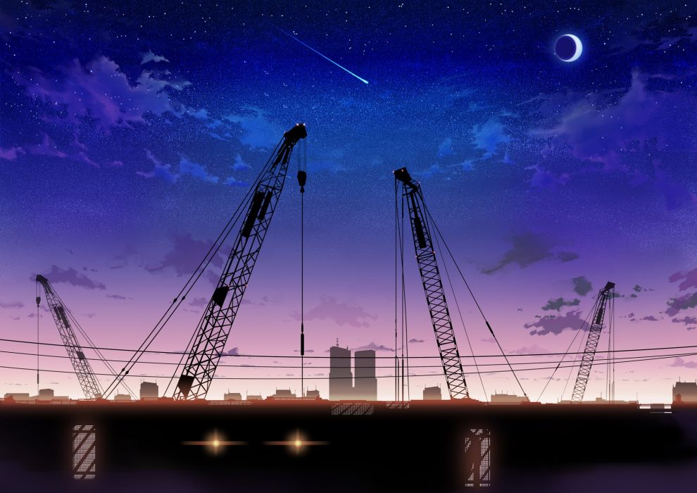 Cityscapes night stars moon scenic falling stars wallpaper