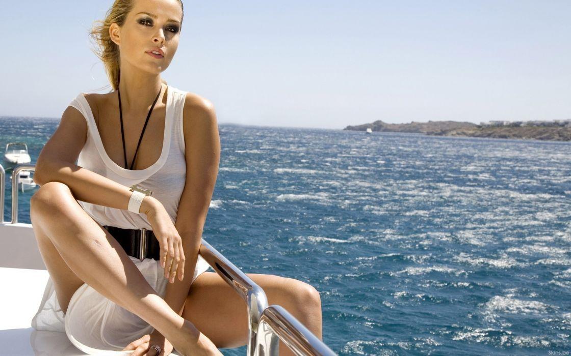 Blondes women ocean models ships petra nemcova white dress sunny wallpaper