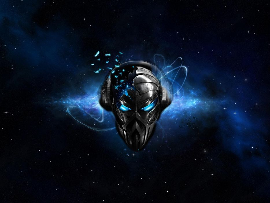 Cool Abstract Dj Music Wallpaper: Headphones Abstract Outer Space Music Blue Eyes Dj