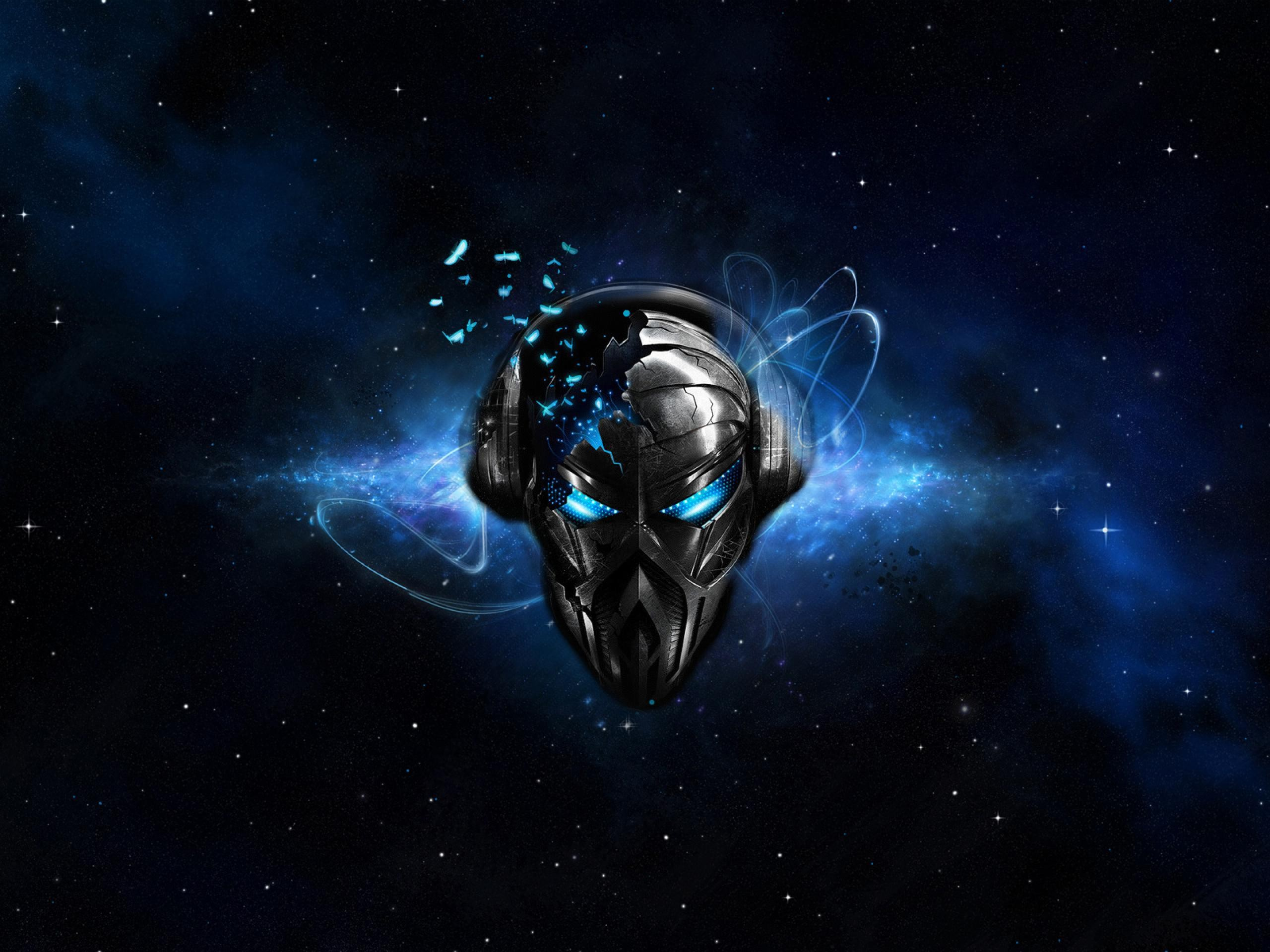 Headphones abstract outer space music blue eyes dj - Blue space 4k wallpaper ...