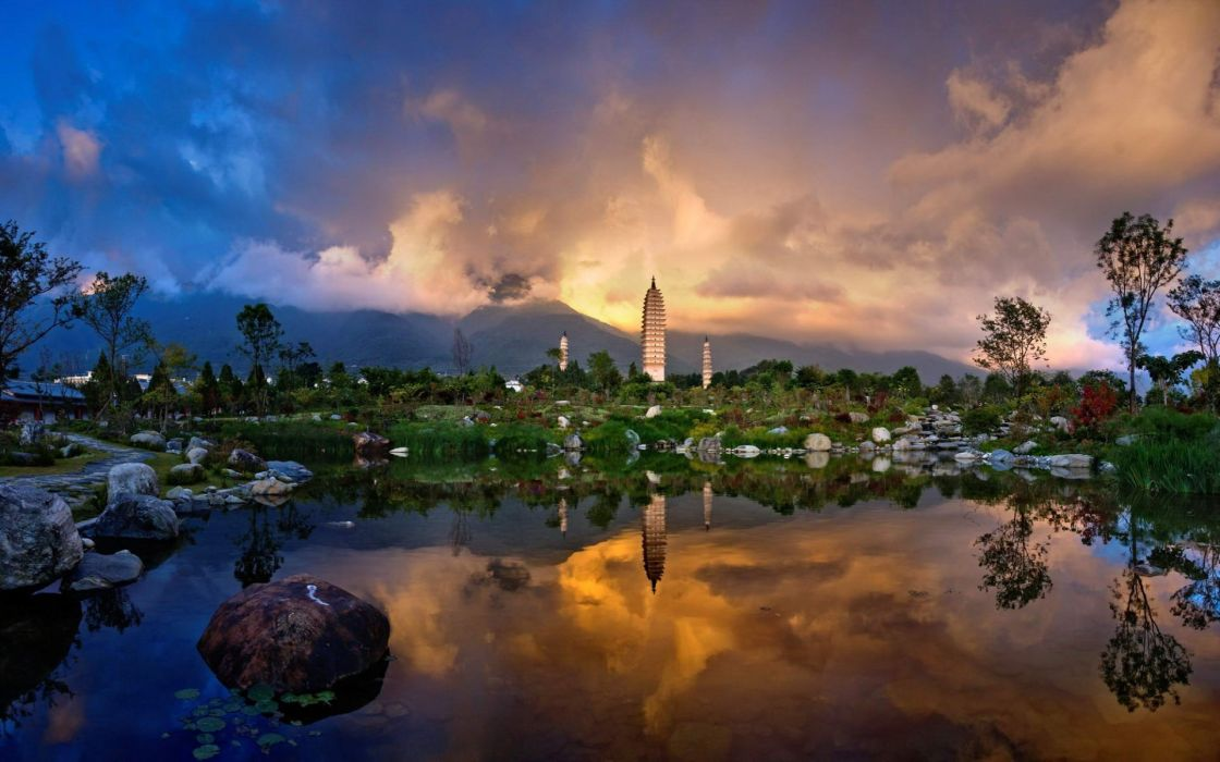 Sunset clouds landscapes nature buildings wallpaper