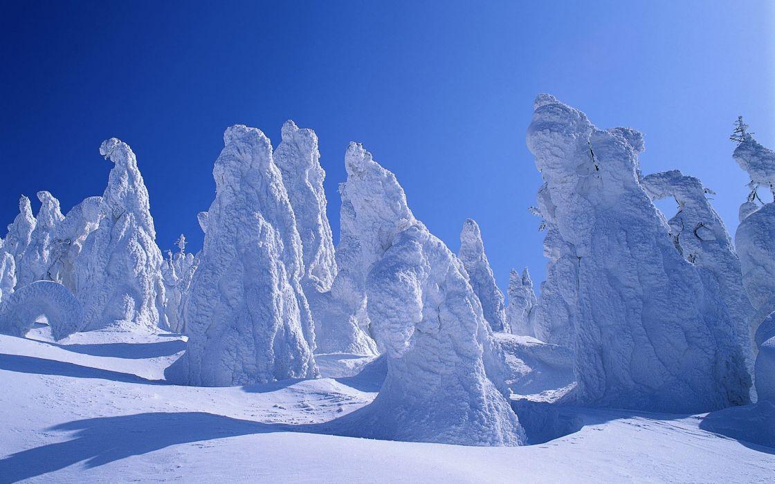 Ice mountains nature winter (season) snow trees wallpaper