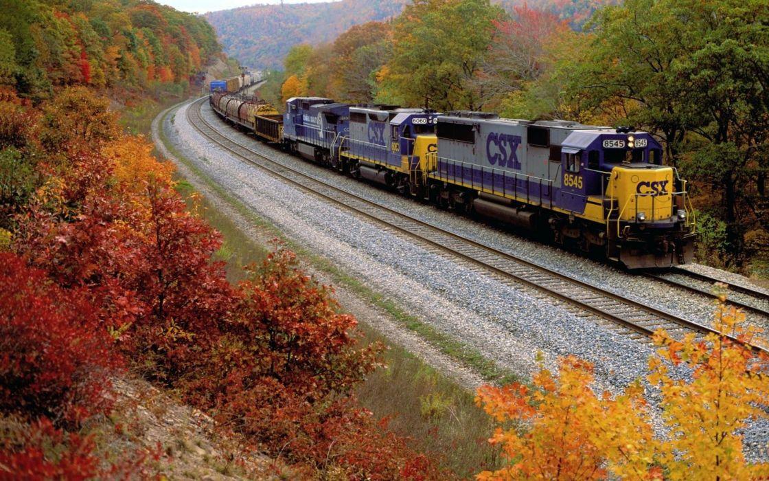 Autumn (season) trains railroad tracks vehicles wallpaper