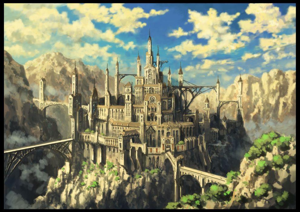 Mountains clouds landscapes castles wallpaper