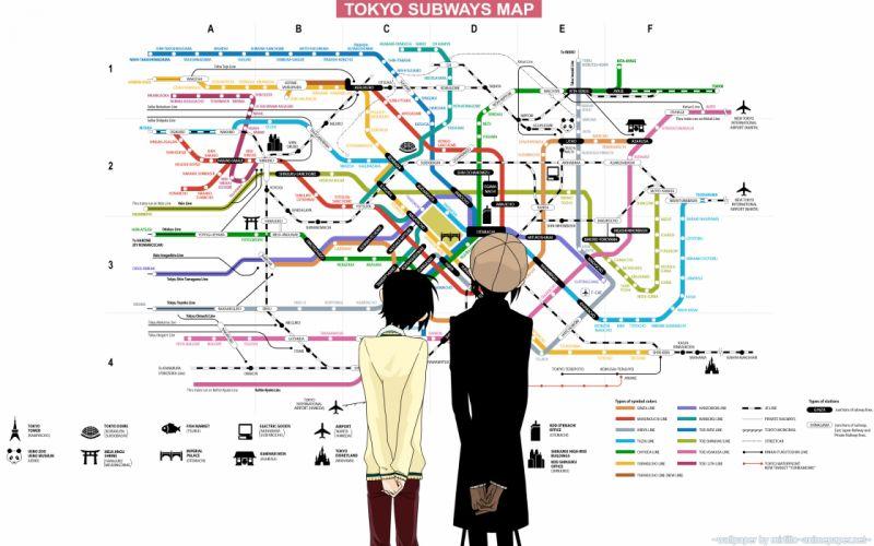 Tokyo subway maps nabari no ou anime anime boys yoite miharu rokujou wallpaper