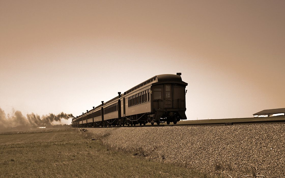 Trains sepia wallpaper