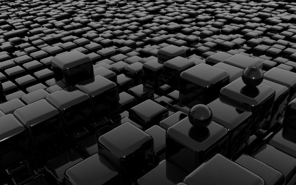Abstract glass patterns balls geometry cubes wallpaper